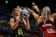 Lenize Potgieter of the Magic is defended by Jane Watson of the Tactix during the ANZ Premiership Netball match, Tactix V Magic, Horncastle Arena, Christchurch, New Zealand, 6th June 2018.Copyright photo: John Davidson / www.photosport.nz