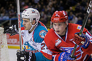 KELOWNA, CANADA - FEBRUARY 17:  Reid Gardiner #23 of the Kelowna Rockets, Jaret Anderson-Dolan #11 of the Spokane Chiefs at the Kelowna Rockets game on February 17, 2017 at Prospera Place in Kelowna, British Columbia, Canada.  (Photo By Cindy Rogers/Nyasa Photography,  *** Local Caption ***