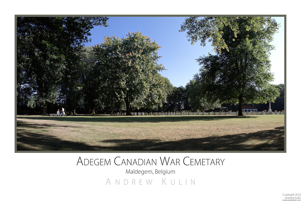 A panoramic photograph with picnickers at a Canadian War Cemetary in northern Belgium...original image size 5760x3840