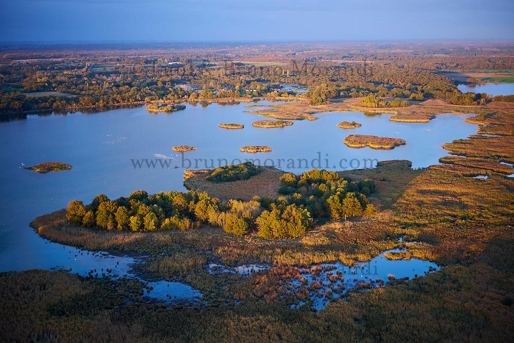 France, Indre (36), le Berry, parc naturel régional de la Brenne, Migné, vue aérienne  des étangs // France, Indre (36), le Berry, Brenne, natural park, aerial view of the ponds, Migné