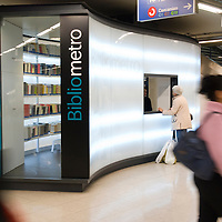BiblioMetro, a public library in a Madrid metro station, Spain, Europe, EU.