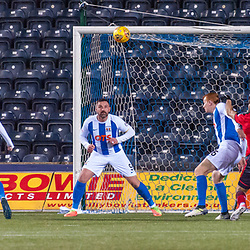#4 Steven Caulker (Dundee) heads the visitors into the lead - Kilmarnock v Dundee - Ladbrokes Premiership - 13 February 2018 - © Russel Hutcheson | SportPix.org.uk