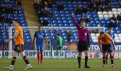 Match referee Sebastian Stockbridge shows a red card to George Edmundson of Oldham Athletic - Mandatory by-line: Joe Dent/JMP - 20/01/2018 - FOOTBALL - ABAX Stadium - Peterborough, England - Peterborough United v Oldham Athletic - Sky Bet League One
