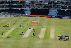 The 2 teams have there team talk ahead of the 2nd ODI match between South Africa and Australia held at The Wanderers Stadium in Johannesburg, Gauteng, South Africa on the 2nd October  2016<br /> <br /> Photo by Dominic Barnardt/ RealTime Images