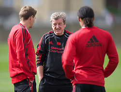LIVERPOOL, ENGLAND - Wednesday, August 18, 2010: Liverpool's manager Roy Hodgson and captain Steven Gerrard MBE during a training session at Melwood ahead of the UEFA Europa League Play-Off 1st Leg match against Trabzonspor A.S. (Pic by: David Rawcliffe/Propaganda)