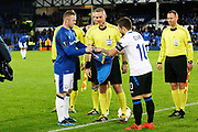 Captains Everton striker Wayne Rooney (10) and Atalanta midfielder Alejandro Gomez (10) during the Europa League match between Everton and Atalanta at Goodison Park, Liverpool, England on 23 November 2017. Photo by Craig Galloway.