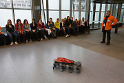 Linz, Cultural Capital of Europe 2009. Ars Electronica Center. Foyer. Presentation of next-gen robot Halluc II, which can detect obstacles, roll, step crawl etc. by Shunji Yamanaka/Leading Edge Design and the Future Robotics Technology Center (Chiba Institute of Technology).