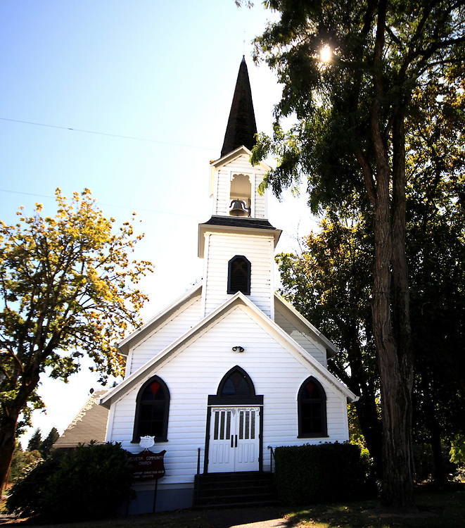 church in fall light