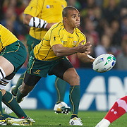 Will Genia, Australia, in action during the Australia V Wales Bronze Final match at the IRB Rugby World Cup tournament, Auckland, New Zealand. 21st October 2011. Photo Tim Clayton...