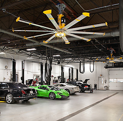 Big Ass fan installation at Aston Martin Dealership