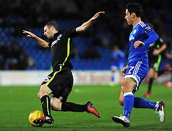 Peter Whittingham of Cardiff City fouls Jamie Murphy of Brighton & Hove Albion - Mandatory by-line: Nizaam Jones/JMP - 03/12/2016 -  FOOTBALL - Cardiff City Stadium - Cardiff, Wales -  Cardiff City v Brighton and Hove Albion - Sky Bet Championship