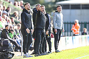 Forest Green Rovers head coach, Mark Cooper and Forest Green Rovers Matt Mills(5) during the EFL Sky Bet League 2 match between Forest Green Rovers and Mansfield Town at the New Lawn, Forest Green, United Kingdom on 19 October 2019.