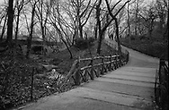 A rustic bridge on the west side of the Lake in Central Park, New York City.