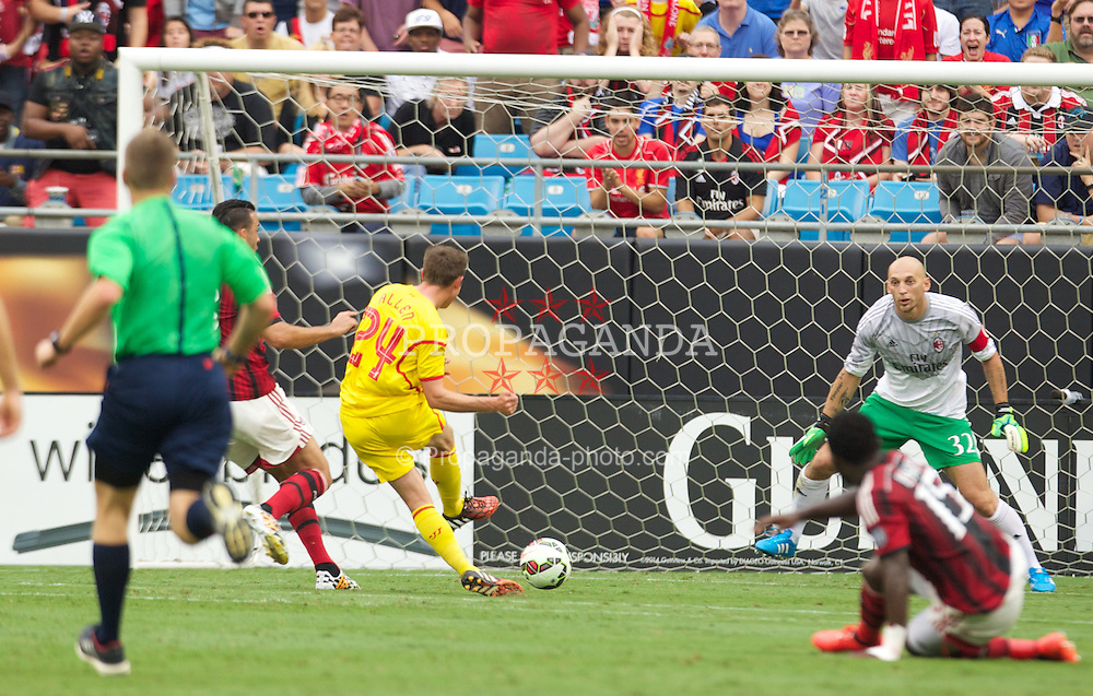 CHARLOTTE, USA - Saturday, August 2, 2014: Liverpool's Joe Allen scores the first goal against AC Milan during the International Champions Cup Group B match at the Bank of America Stadium on day thirteen of the club's USA Tour. (Pic by Mark Davison/Propaganda)