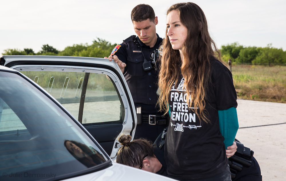 June 1, 2015, Denton, Texas, Niki Chochrek arrested for trespassing at a Vantage frack site along with other members of the Denton Drilling Awareness Group. Three members of the Denton Drilling Awareness Group were arrested when they refused to move away from the entrance to a fracking site where work began on June 1 despite a fracking ban the citizens of Denton voted for seven months ago.  Texas Governor Greg Abbott signed legislation, HB 40, that prohibits cities and towns in Texas from banning fracking