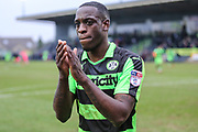 Forest Green Rovers Isaiah Osbourne(34) applauds the fans at the end of the match during the EFL Sky Bet League 2 match between Forest Green Rovers and Mansfield Town at the New Lawn, Forest Green, United Kingdom on 24 March 2018. Picture by Shane Healey.