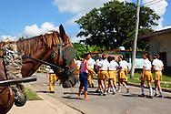 Horse and school kids in San Miguel de los Banos, Matanzas Province, Cuba.
