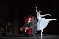© Licensed to London News Pictures. 04/08/2015. London, UK. Luke Schaufuss as James and Sarah Thomson as The Sylphide. Dress rehearsal of La Sylphide (some parts in partial costume). Australia's Queensland Ballet makes its London Coliseum debut with La Sylphide, the August Bournonville ballet is choreographed by Peter Schaufuss. Performances at the Coliseum from 5 to 8 August 2015. Photo credit: Bettina Strenske/LNP