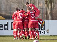 FODBOLD: FC Helsingørs spillere jubler efter scoringen til 0-1 under kampen i NordicBet Ligaen mellem Thisted FC og FC Helsingør den 3. marts 2019 på Sparekassen Thy Arena i Thisted. Foto: Claus Birch
