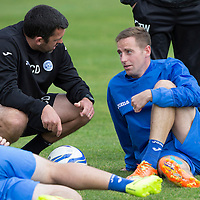 St Johnstone's Steven MacLean talks with Callum Davidson in training this morning with Lee Croft.22.08.14<br /> Picture by Graeme Hart.<br /> Copyright Perthshire Picture Agency<br /> Tel: 01738 623350  Mobile: 07990 594431
