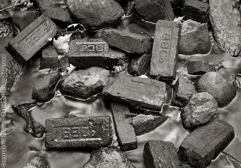 BBCo Bricks in River at Pecks Pond, West Branch Housatonic River, Pittsfield, MA