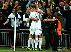 Harry Kane of Tottenham Hotspur celebrates with Ben Davies of Tottenham Hotspur after scoring a goal to make it 3-1 - Mandatory by-line: Robbie Stephenson/JMP - 13/09/2017 - FOOTBALL - Wembley Stadium - London, England - Tottenham Hotspur v Borussia Dortmund - UEFA Champions League Group H
