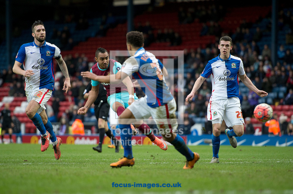 Dimitri Payet of West Ham United (2nd left) scores his team's 5th goal to make it 5-1 during the FA Cup match at Ewood Park, Blackburn<br /> Picture by Russell Hart/Focus Images Ltd 07791 688 420<br /> 21/02/2016