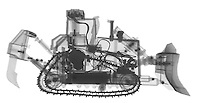 X-ray image of a bulldozer (black on white) by Jim Wehtje, specialist in x-ray art and design images.