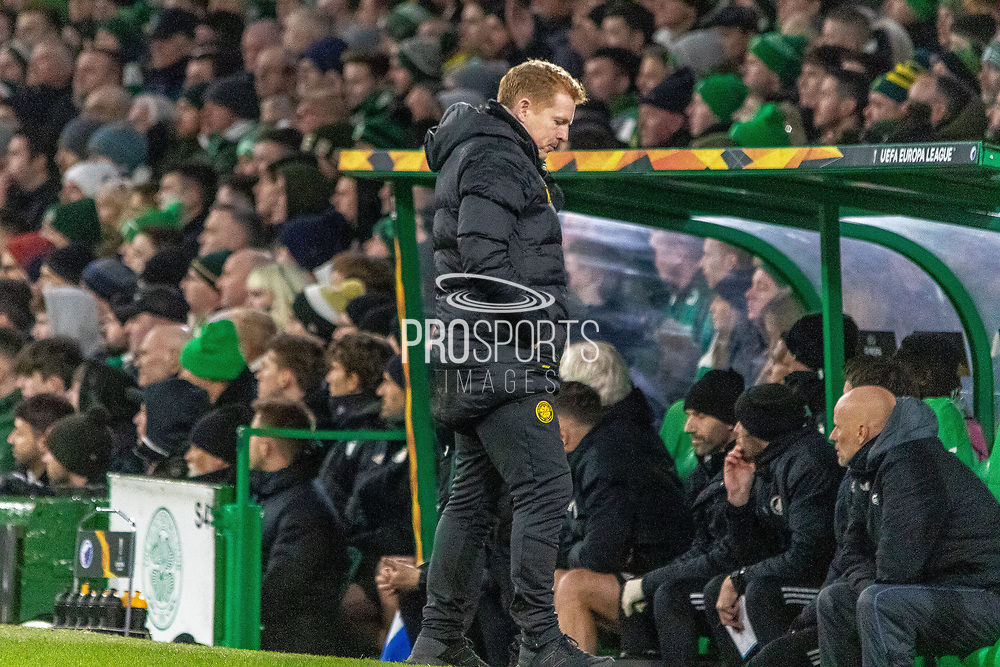 a dejected looking Celtic Manager Neil Lennon during the Europa League match between Celtic and FC Copenhagen at Celtic Park, Glasgow, Scotland on 27 February 2020.