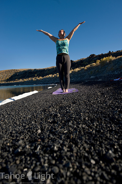 Yoga on Paoha Island in Mono Lake, Lee Vining area, October, 2009