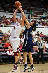 November 1, 2009; Stanford, CA, USA;  Stanford Cardinal forward Kayla Pedersen (14) is fouled by Vanguard Lions forward Miljana Cejic (31) during the first half at Maples Pavilion.