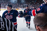 REGINA, SK - MAY 25: The Regina Pats celebrate a second period goal against the Hamilton Bulldogs at the Brandt Centre on May 25, 2018 in Regina, Canada. (Photo by Marissa Baecker/CHL Images)
