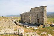 Remains of Roman theatre seating area, Acinipo Roman town site Ronda la Vieja, Cadiz province, Spain