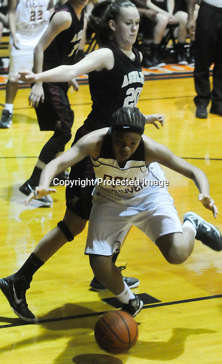 New Hanover's Tanasia Toomer loses the ball out of bounds against Ashley's Dana Craig Friday December 19, 2014 at New Hanover High School in Wilmington, N.C. (Jason A. Frizzelle)
