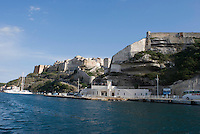 Bonifacio port <br /> France: Corsica, Bonifacio (most southerly town in Corsica and port for the Lavezzi Islands, which lie c. 10 km South East)