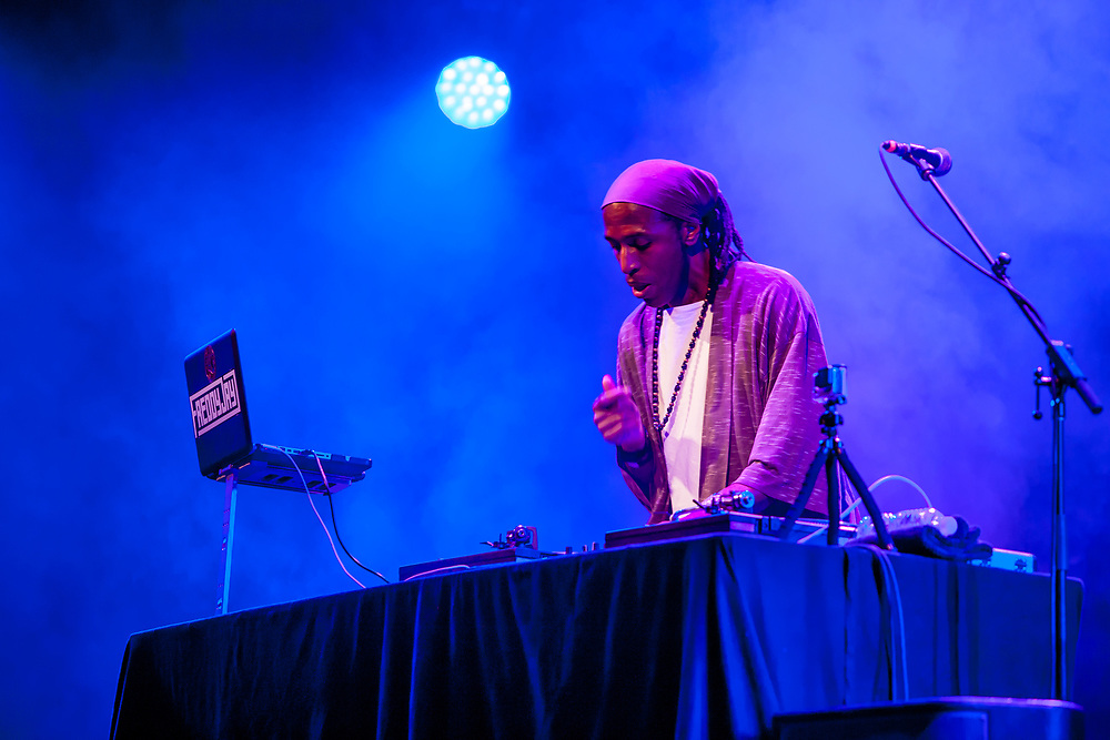 Brooklyn, NY - 15 July 2017. The BRIC Celebrate Brooklyn! Festival summer concert series featured a post-Bastille Day bill of the Louisiana bilingual band Sweet Crude and French songwriter and stylist Ben L'Oncle Soul. DJ Freddy Jay spinning for Ben L'Oncle Soul.
