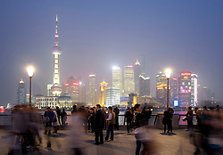 Night view of cityscape of Pudong district of Shanghai in China