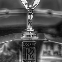 Close up of Classic car. Rolls Royce emblem