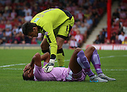 Anton Ferdinand (Reading defender) getting fouled in box during the Sky Bet Championship match between Brentford and Reading at Griffin Park, London, England on 29 August 2015. Photo by Matthew Redman.