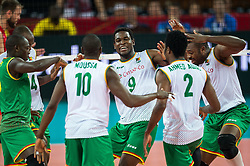 07.09.2014, Centennial Hall, Breslau, POL, FIVB WM, Serbien vs Kamerun, Gruppe A, im Bild Joseph Herve Kofane Boyomo cameroon #9 radosc // Joseph Herve Kofane Boyomo cameroon #9 gladness // during the FIVB Volleyball Men's World Championships Pool A Match beween Serbia and Cameroon at the Centennial Hall in Breslau, Poland on 2014/09/07. <br /> <br /> ***NETHERLANDS ONLY***