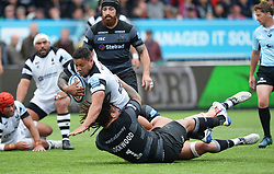 Alapati Leiua of Bristol Bears is brought down by Sam Lockwood of Newcastle Falcons - Mandatory by-line: Richard Lee/JMP - 18/05/2019 - RUGBY - Kingston Park Stadium - Newcastle upon Tyne, England - Newcastle Falcons v Bristol Bears - Gallagher Premiership Rugby