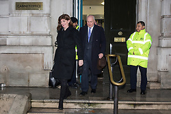 London, UK. 4th February, 2019. Conservative MPs Nicky Morgan and Iain Duncan Smith leave the Cabinet Office with other members of the 'Alternative Arrangements Working Group', a group of Conservative Remainer and Leaver MPs which supported the 'Malthouse Compromise', following a meeting with Brexit Secretary Stephen Barclay.