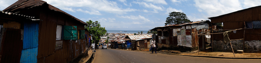 Panoramic view of the slum, Kroo Bay, Freetown, Sierra Leone.