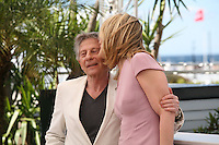 Actress Emmanuelle Seigner kisses Director Roman Polanski at Venus in Fur - La Venus A La Fourrure Photocall Cannes Film Festival On Saturday 26th May May 2013