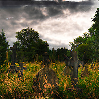 Gravestones at Cathays Cemetery, Cardiff Wales