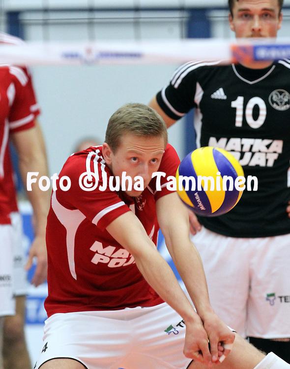 14.11.2012, Vexve Areena, Sastamala..Lentopallon CEV Cup 2012-13. .Vammalan Lentopallo - Andreoli Latina (Italia)..Elviss Krastins - VaLePa
