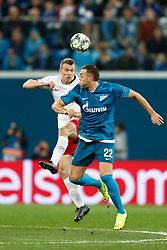 November 4, 2019, Saint Petersburg, USA: SAINT PETERSBURG, RUSSIA - NOVEMBER 05: defender Lukas Klosterman of RB Leipzig and forward Artyom Dzyuba of FC Zenit in action during UEFA Champions League match FC Leipzig at FC Zenit on November 05, 2019, at Saint Petersburg Stadium in Saint Petersburg, Russia. (Photo by Anatoliy Medved/Icon Sportswire) (Credit Image: © Anatoliy Medved/Icon SMI via ZUMA Press)