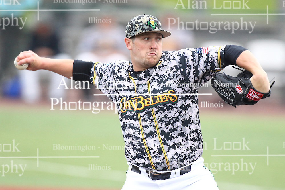 19 June 2015:  Chris Carmain during a Frontier League Baseball game between the Lake Erie Crushers and the Normal CornBelters at Corn Crib Stadium on the campus of Heartland Community College in Normal Illinois