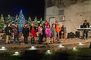 Middletown, New York - The YMCA of Middletown Choir performs before the City of Middletown held its holiday parade and tree lighting on Nov. 25, 2016. ©Tom Bushey / The Image Works