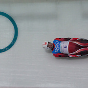Winter Olympics, Vancouver, 2010.Jeff Christie, Canada, in action during the Luge Men's Singles training run at The Whistler Sliding Centre, Whistler, during the Vancouver  Winter Olympics. 10th February 2010. Photo Tim Clayton